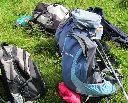 Rucksacks lying on grass