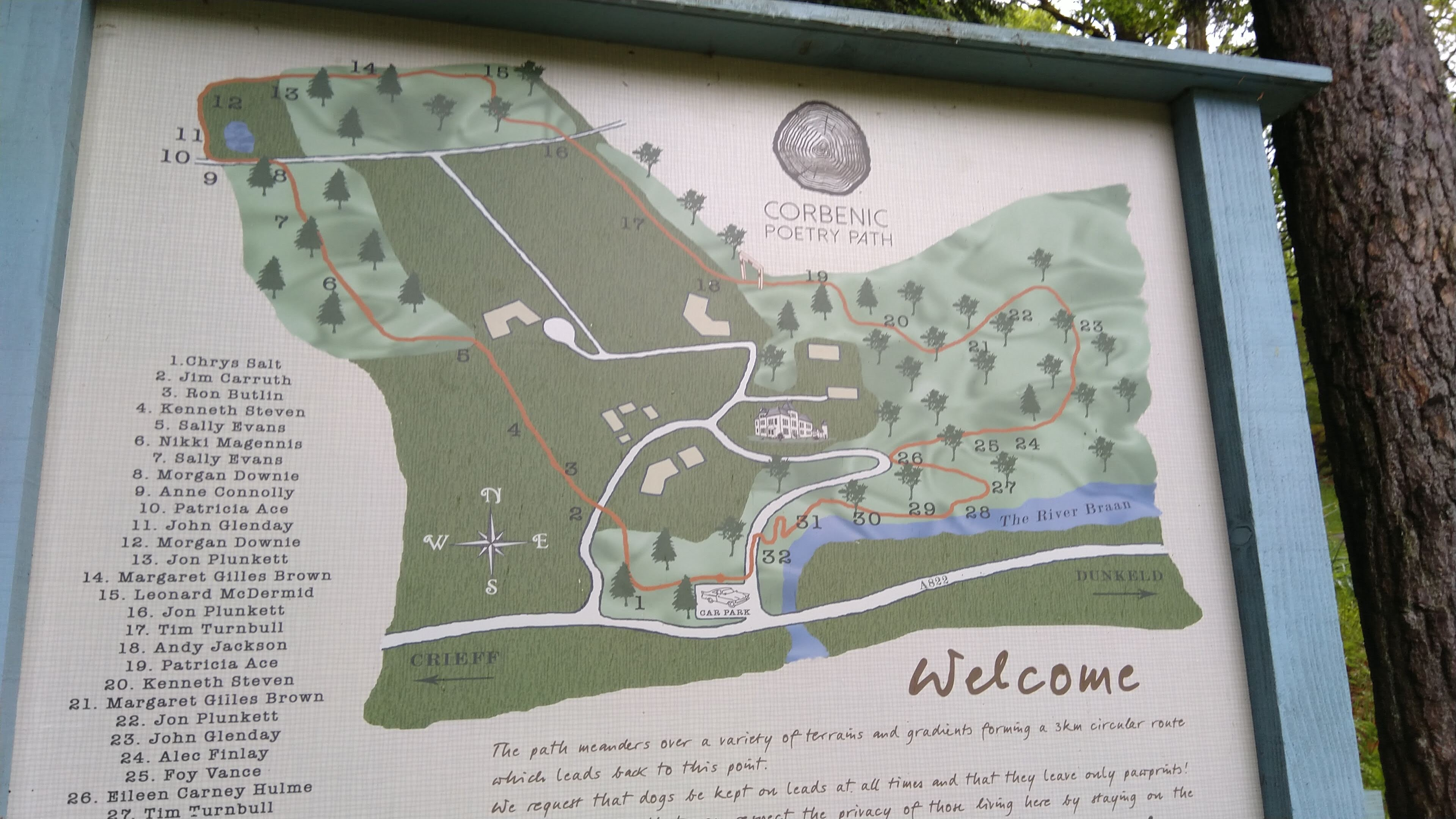 Map board of Corbenic trail